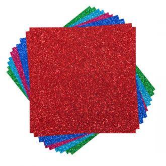 "Glitter Cardstock Sampler, Brights - 12"" x 12"""